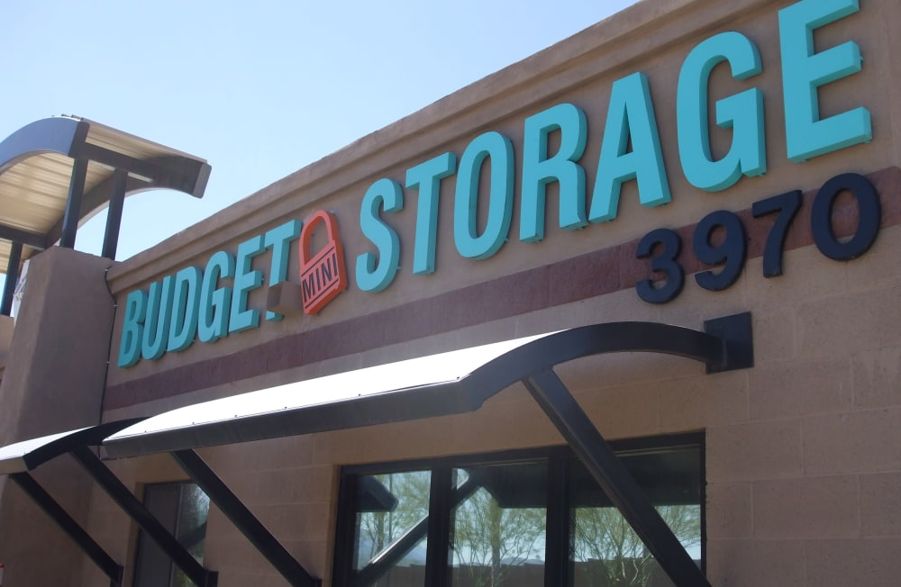 Street view of entrance to Budget Mini Storage