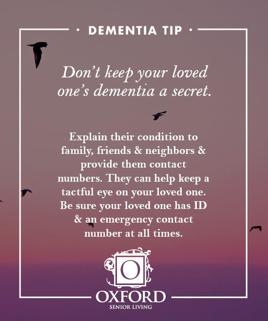 Dementia tip #4 for Oxford Glen Memory Care at Grand Prairie in Grand Prairie, Texas