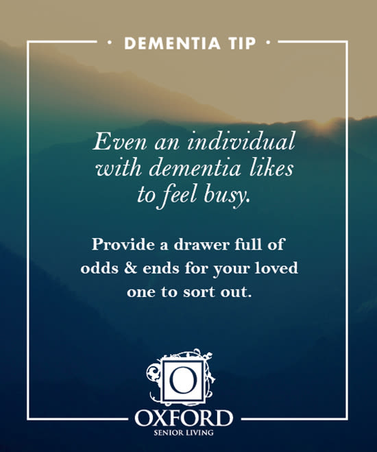 Dementia tip #5 for Oxford Glen Memory Care at Grand Prairie in Grand Prairie, Texas