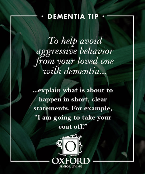 Dementia tip #3 for Oxford Glen Memory Care at Grand Prairie in Grand Prairie, Texas