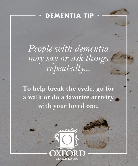 Dementia tip #2 for Oxford Glen Memory Care at Sachse in Sachse, Texas