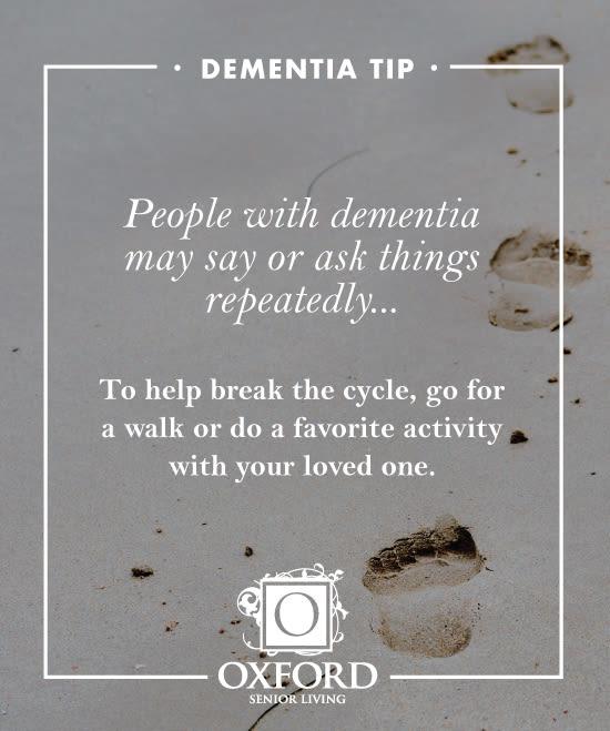 Dementia tip #2 for Oxford Glen Memory Care at Carrollton in Carrollton, Texas