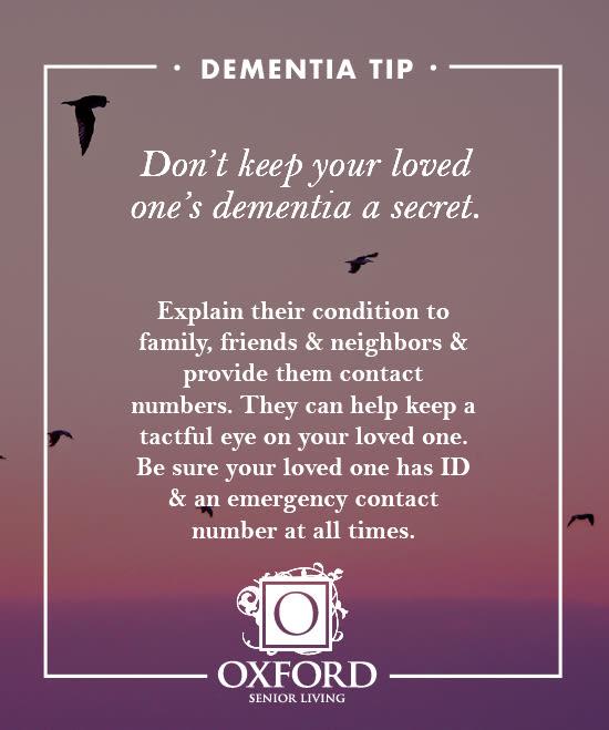 Dementia tip #4 for Oxford Glen Memory Care at Carrollton in Carrollton, Texas