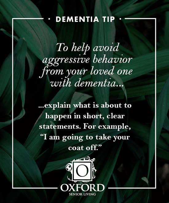 Dementia tip #3 for Oxford Glen Memory Care at Carrollton in Carrollton, Texas