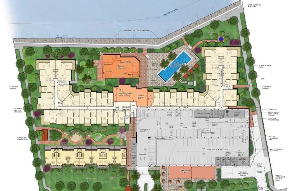 Site plan for Aquamarina Oceanside in Pompano Beach, Florida