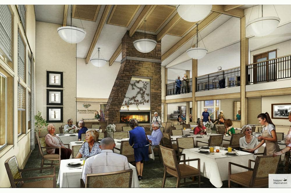 Juniper Springs Senior Living offers a dining area in Redmond, OR