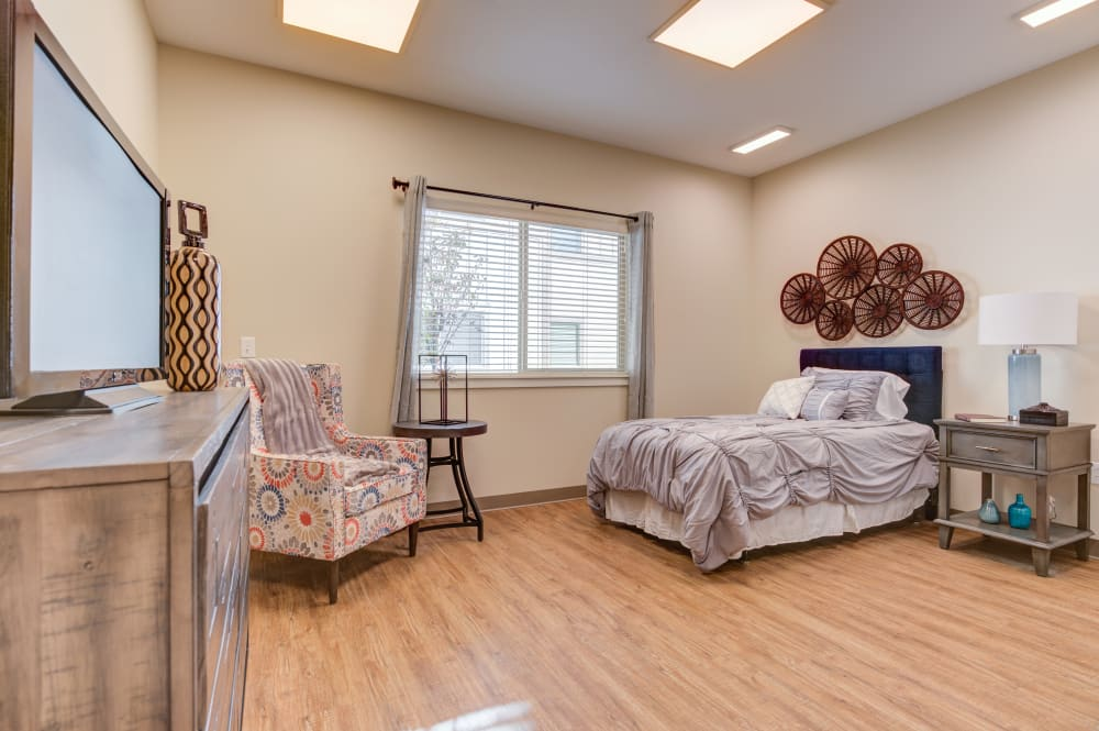Model bedroom at Juniper Springs Senior Living