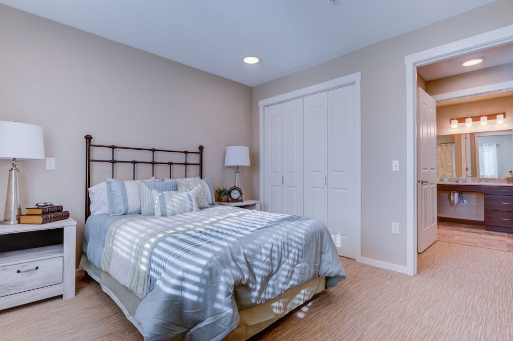 Beautiful model bedroom at Juniper Springs Senior Living