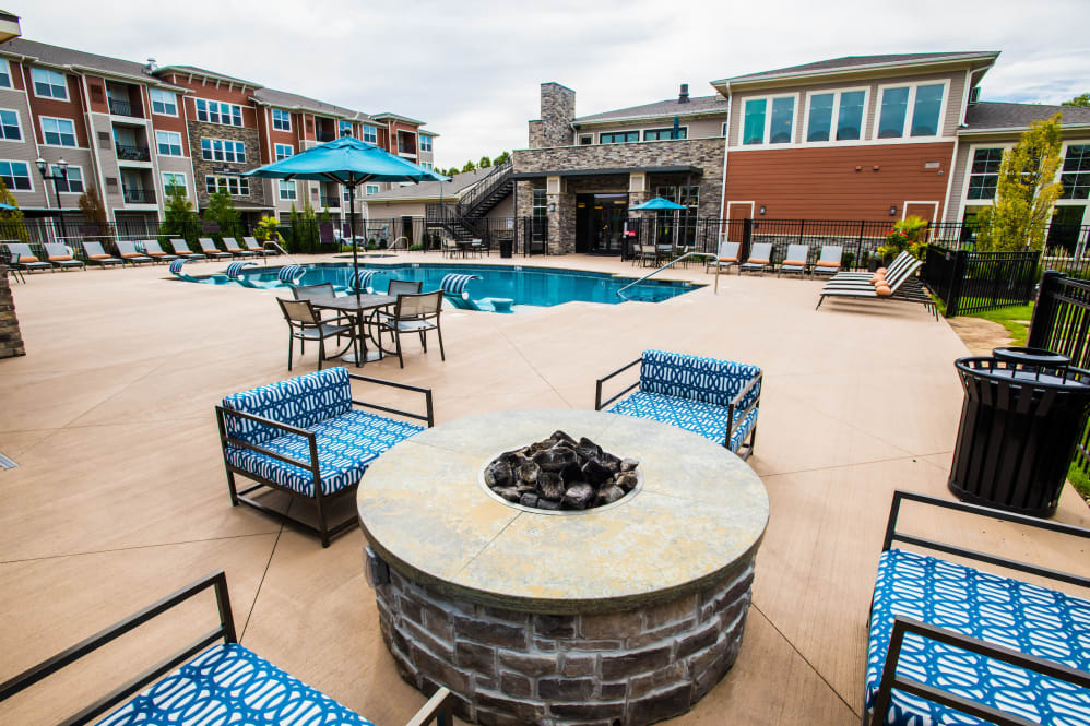Large resident swimming pool with fire pit at Altitude 970 in Kansas City, Missouri.