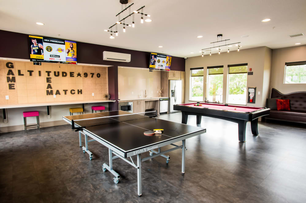 Clubhouse with ping pong table at Altitude 970 in Kansas City, Missouri.
