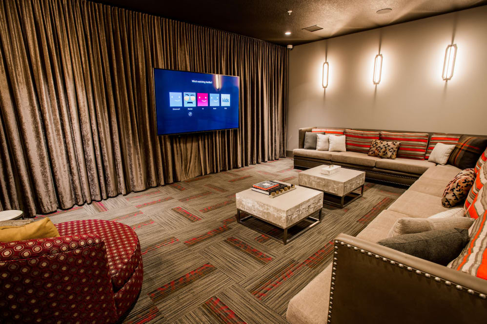 Clubhouse movie room at Altitude 970 in Kansas City, Missouri.