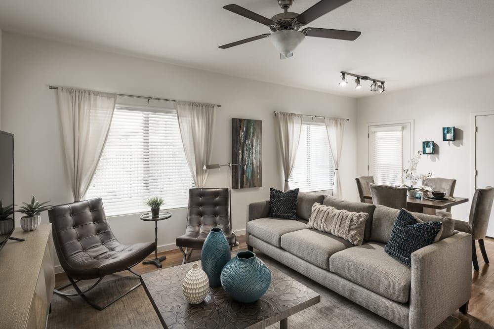 Model apartment living room at The Maxx 159 in Goodyear, Arizona