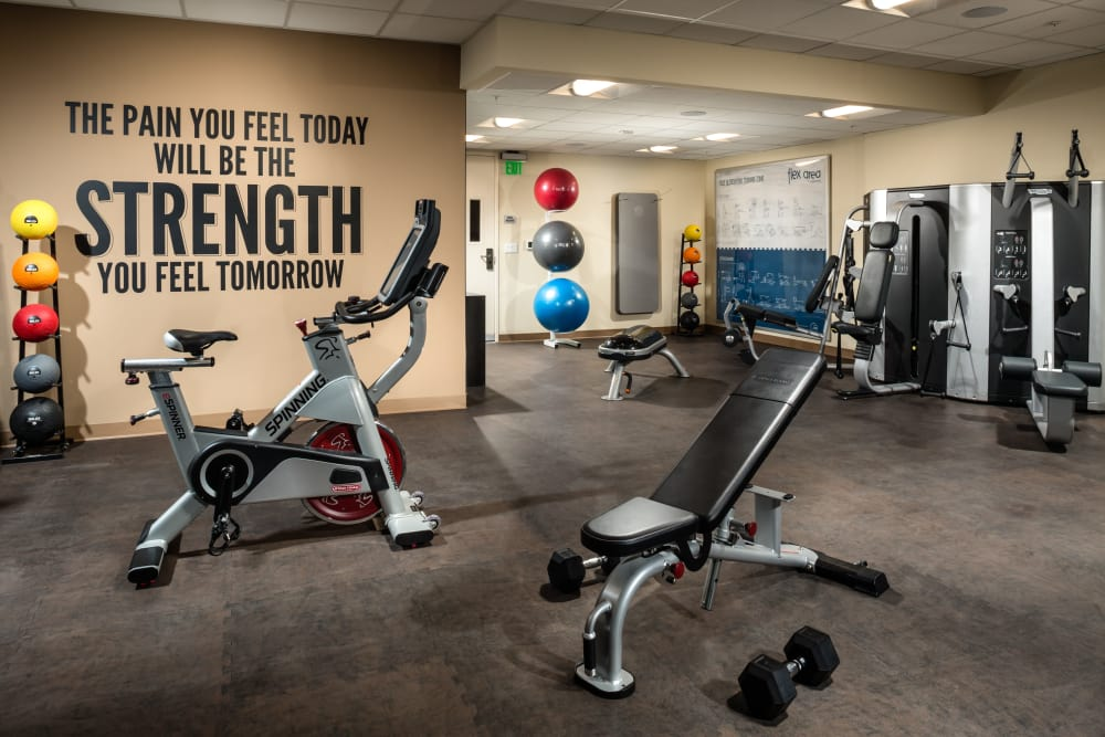 Fully equipped fitness center at Berkshire K2LA in Los Angeles
