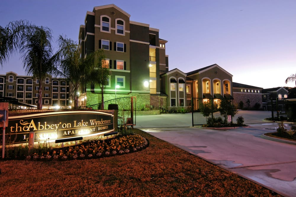 View of apartments in The Woodlands at dusk