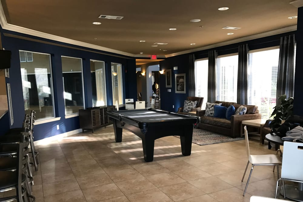 Billiards in clubhouse at The Abbey on Lake Wyndemere in The Woodlands