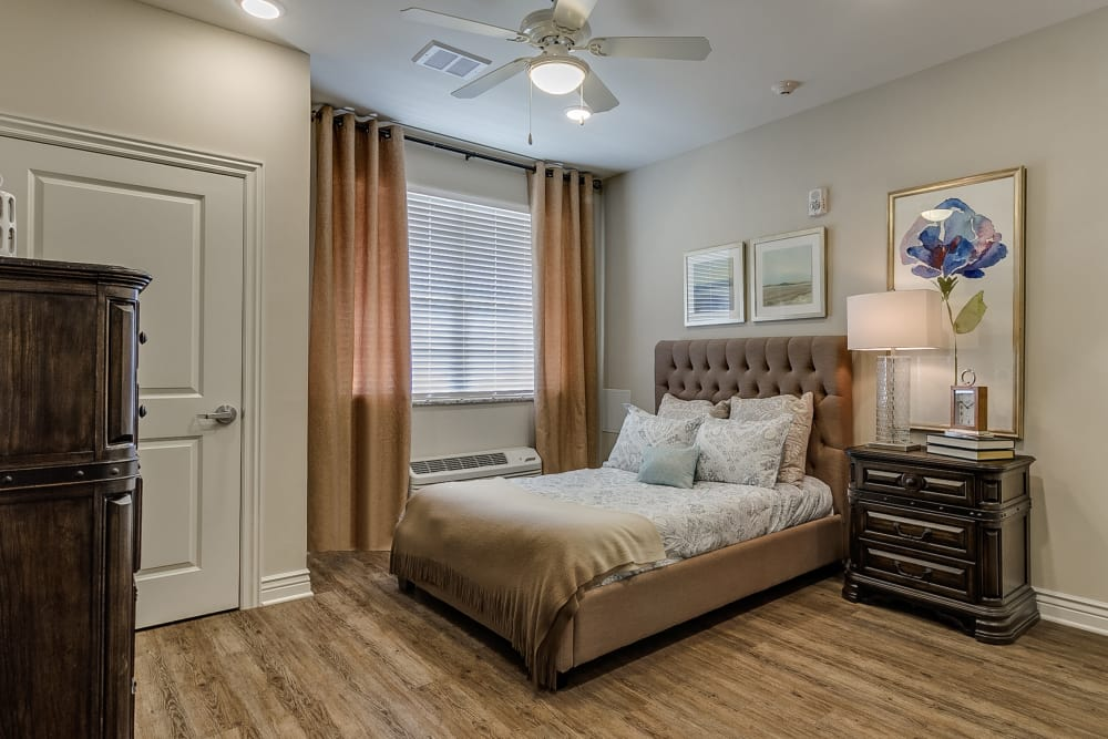 Model bedroom at Iris Memory Care of Rowlett in Rowlett