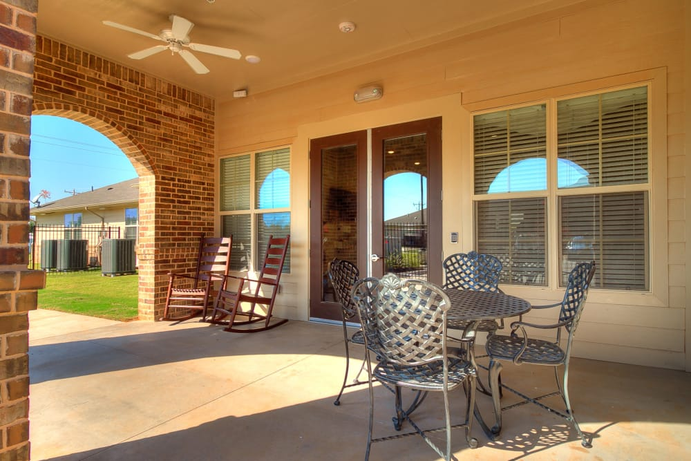 Exterior patio of Iris Memory Care of Rowlett in Rowlett