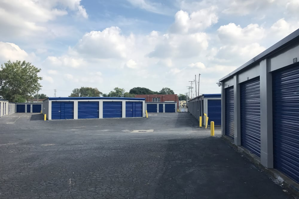 Exterior view of storage units at Casino Self Storage in Columbus