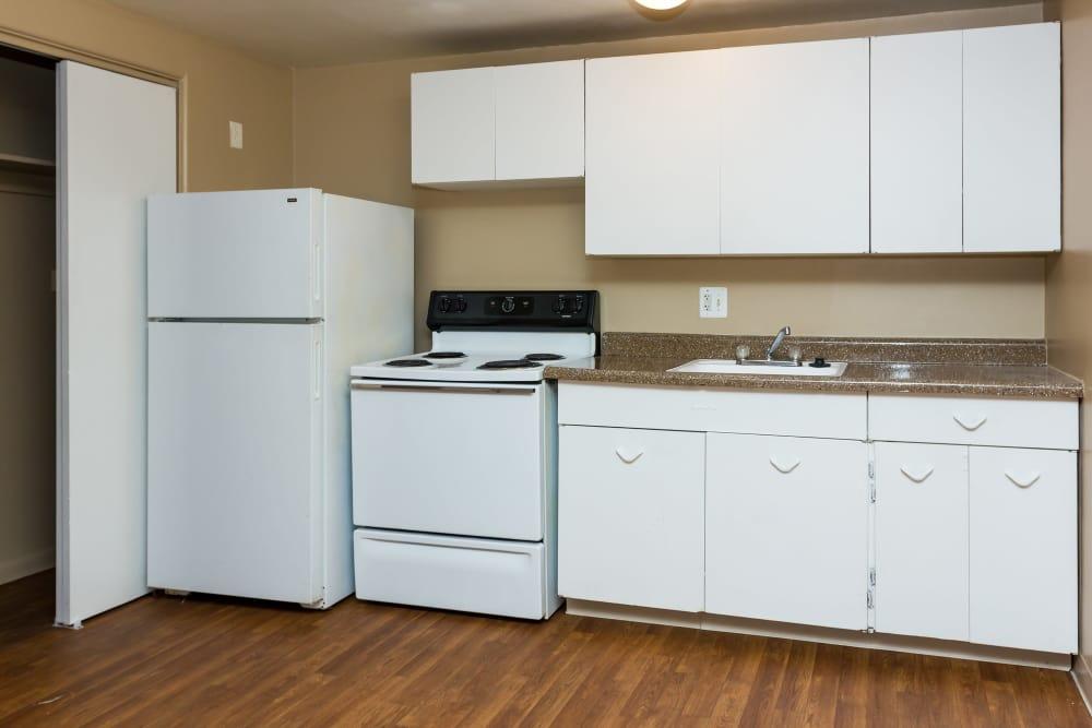Modern kitchen at Lamar Station Apartments in Lakewood, Colorado