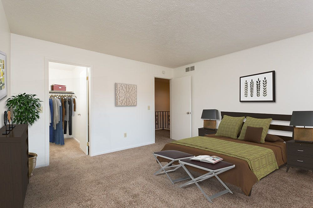 Model bedroom at Brighton Colony Townhomes