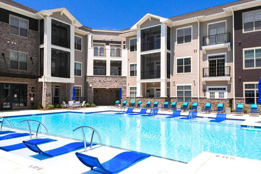 The outdoor pool and at the park apartments