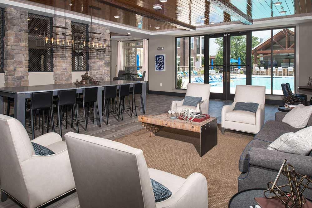 The lobby at at the park apartments