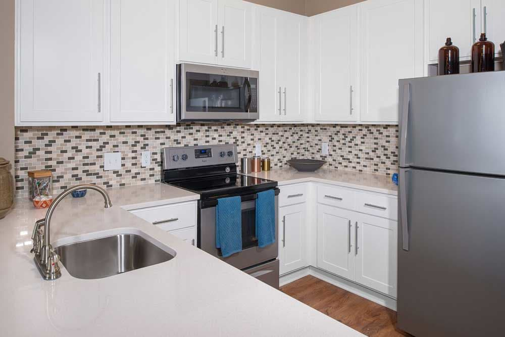 A kitchen in one of the units at at the park apartments