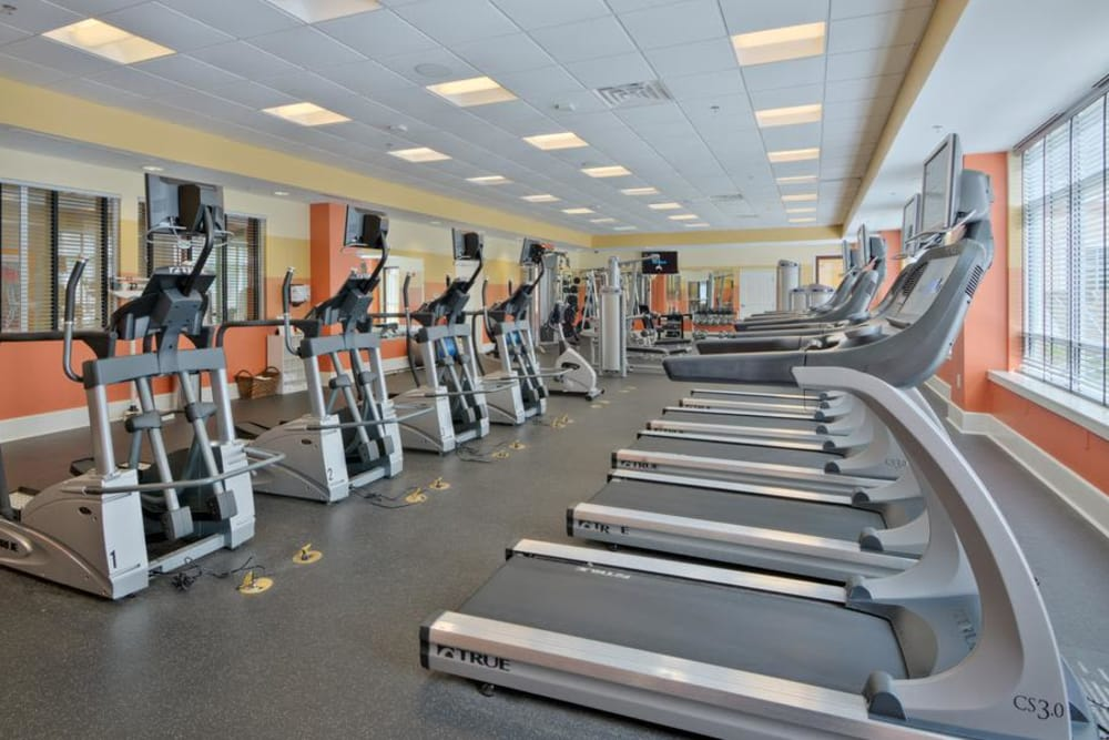 Renovated fitness center at Manor Six Forks in Raleigh, North Carolina