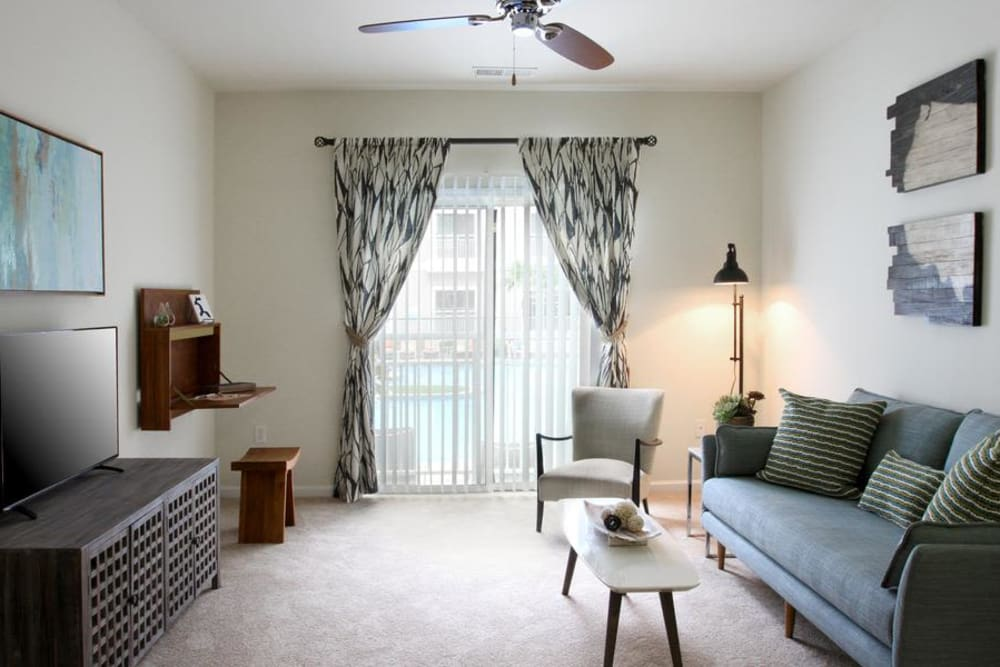 Our apartments in Raleigh, North Carolina showcase a modern TV room