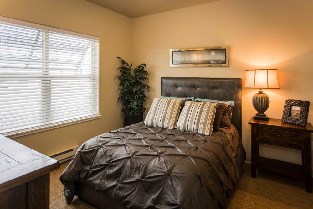 A model bedroom at Park Wood Retirement Community