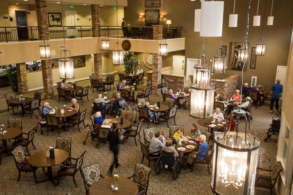A bird's eye view of the dining hall at Park Wood Retirement Community