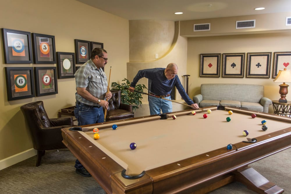 Solana at The Park offers a billiard's table for residents and family to play!