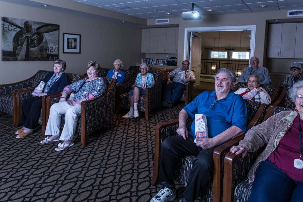 Residents love to catch a flick in the on-site theater at Solana at The Park