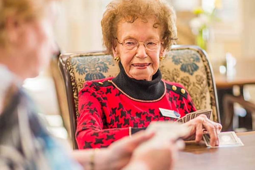 Park Wood Retirement Community residents play cards together.