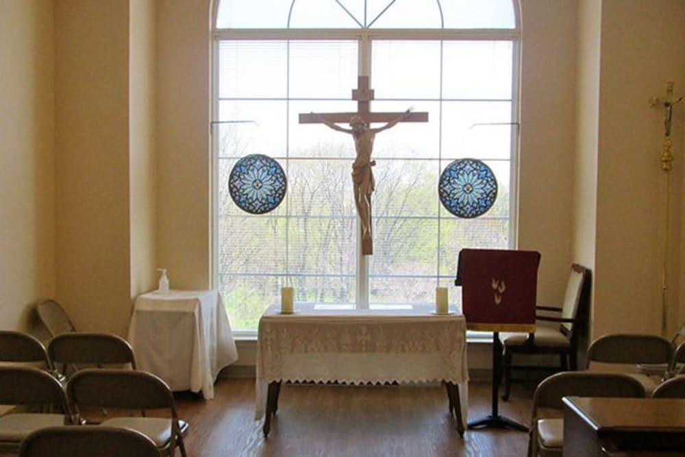 The graceful chapel at Tranquillity at Fredericktowne