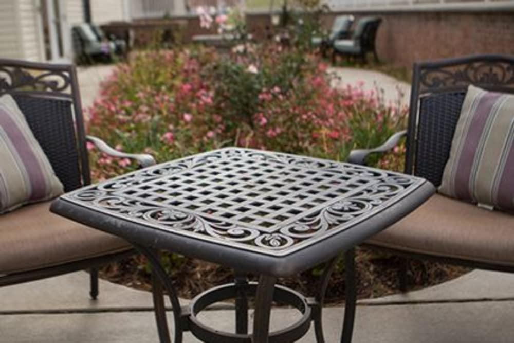 A patio chair in a relaxing setting at Woodholme Gardens