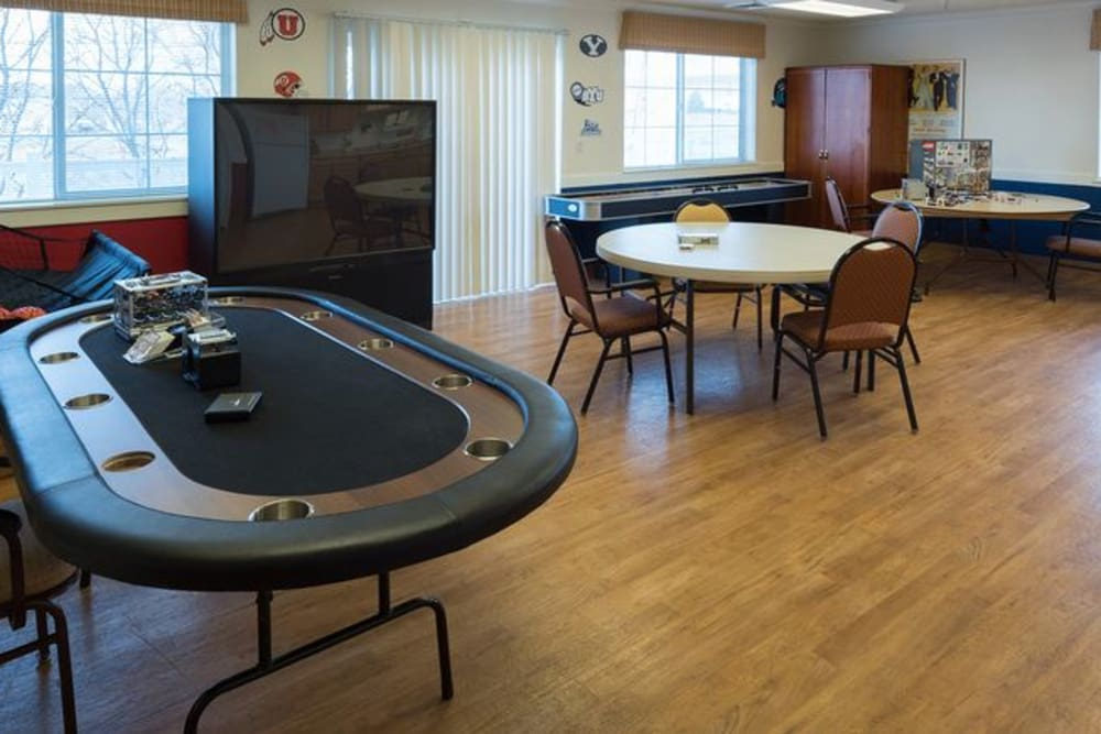 The game room at The Wentworth at Draper
