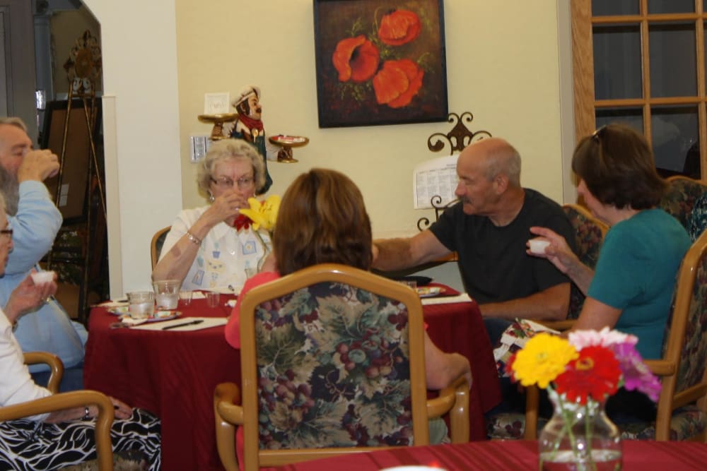 Residents partake in wine tasting
