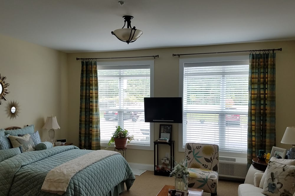 Bedroom in an apartment at Blue Ridge Assisted Living