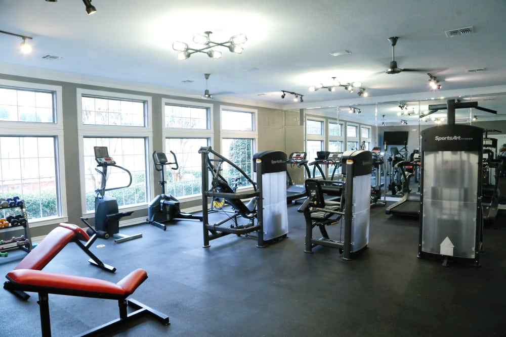 Fitness center at Flatts at South Campus in Oxford