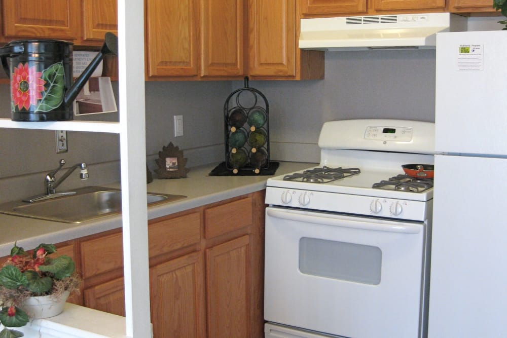 Well equipped kitchen at The Meadows on Balfour apartments in Harper Woods, MI