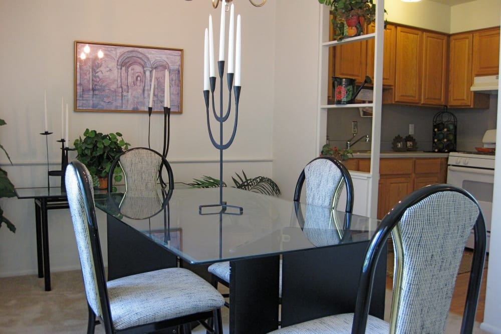 Dining table at The Meadows on Balfour apartments in Harper Woods, MI