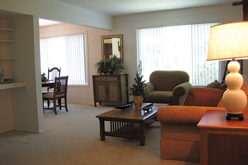 Living room at The Meadows on Balfour apartments in Harper Woods