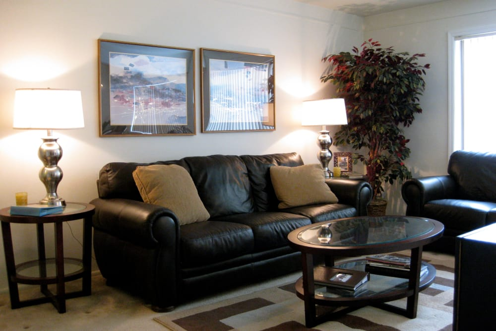 Cozy living room at The Meadows on Balfour apartments in Harper Woods