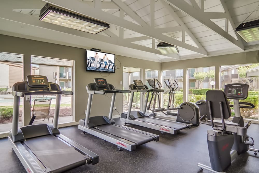 Fitness center at Somerset Apartments in Houston, TX