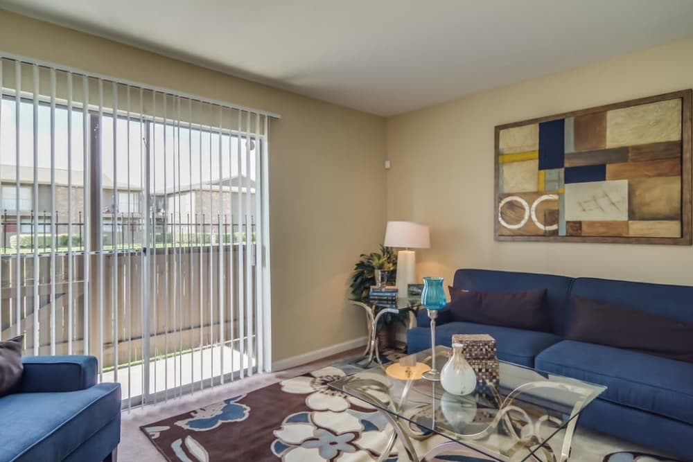 View of the living room at Somerset Apartments in Houston