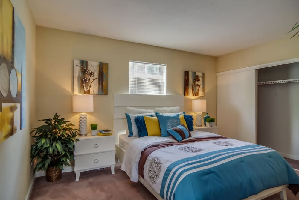 Master bedroom layout at Somerset Apartments in Houston. Somerset Apartments in Northwest Houston  TX near Jersey Village