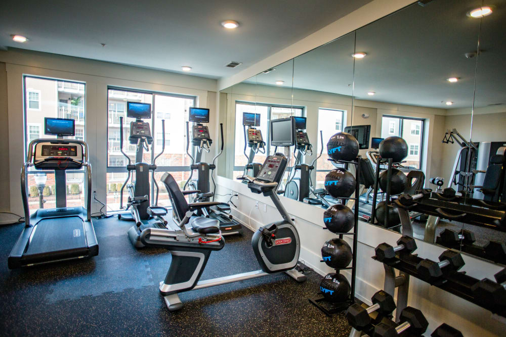 Workout in Bedford Hall's fitness center