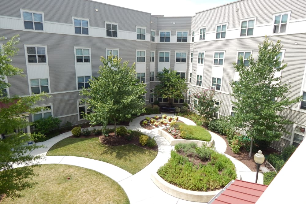 Tree-lined walking paths at Arthur Capper Senior Apartments