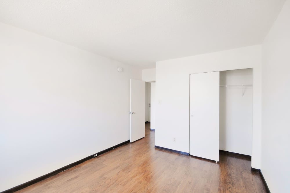 Bedroom with hardwood floors at Edgewood Commons